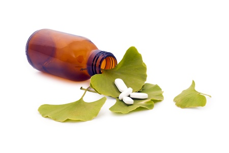 Ginkgo Biloba tree spirit and the medicine made ​​from it. Stock Photo