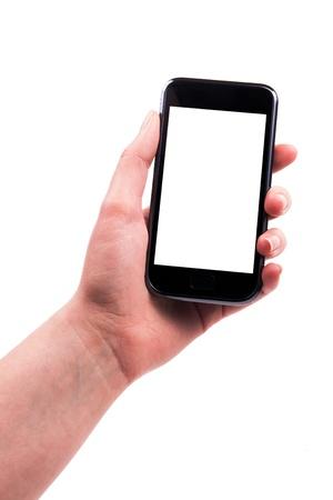 phone button: Moderne telefoon in haar hand een leeg scherm.