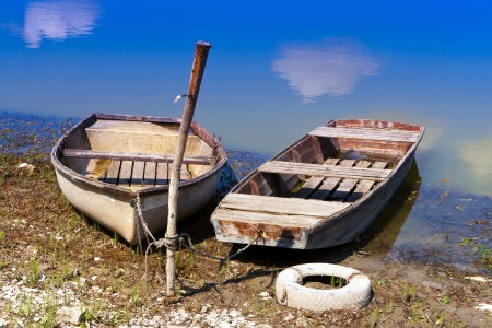 Boats anchored to the shore  photo