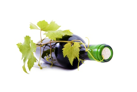 Wine bottle and grape leaves  photo