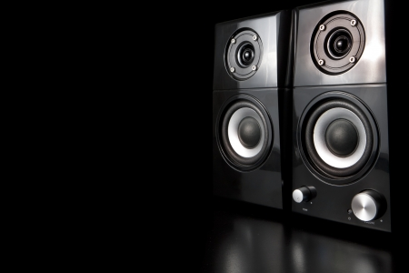 A few speakers on a black background Stock Photo - 14770375