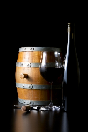 Barrels of wine bottles, glasses and corkscrew Stock Photo - 14770376