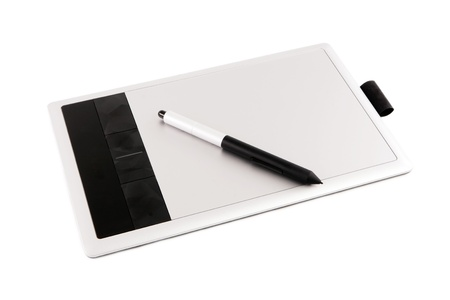 digitizer: Graphic tablet and pen on a white background