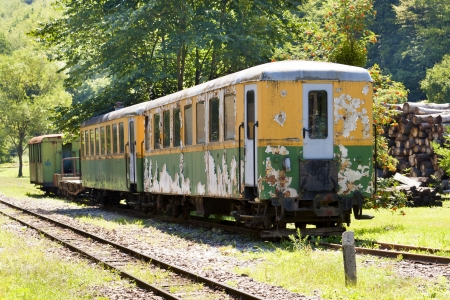 Old railway car, abandoned in the woods  Stock Photo - 17780818
