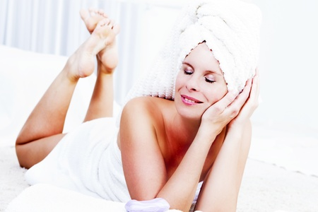Beautiful woman is relaxing in the spa  photo