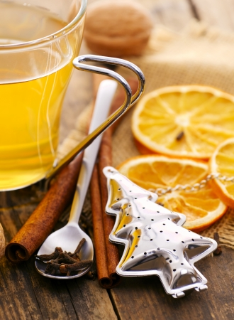 Tea, orange, cinnamon, Christmas mood  photo