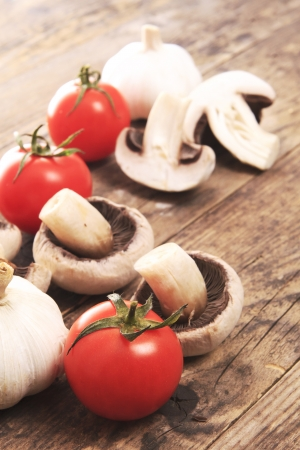 Mushrooms and tomatoes in the tastefully presented photo