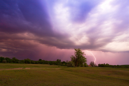 Lightning strikes in the field  photo