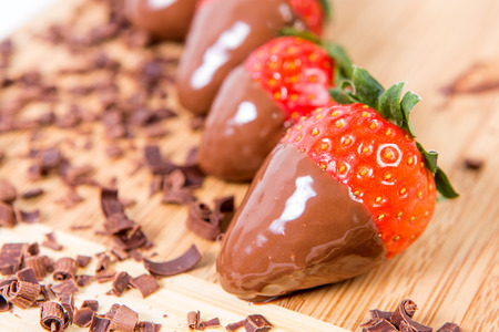 dipped: Ripe strawberries dipped in chocolate. Stock Photo