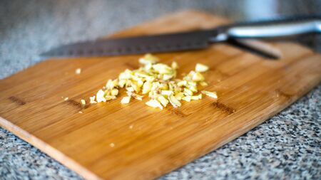Chopped Ginger on Cutting Board