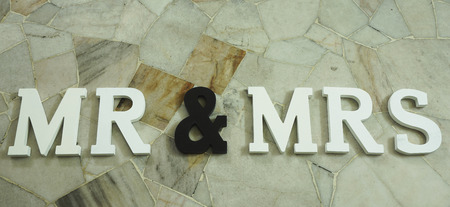 Sign for wedding Mr & Mrs with marble tiles