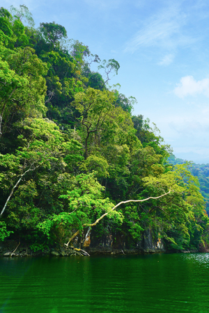 geoforest: Island of the Pregnant Maiden lake, langkawi, malaysia, Marble Geoforest Park Stock Photo