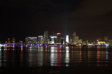 The Miami downtown skyline at night.