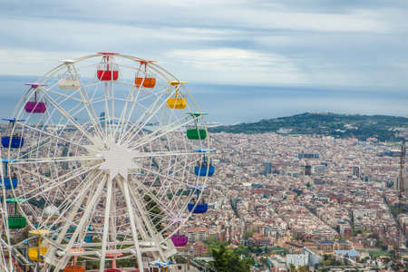 Barcelona panoramic view from Tibidabo mountain, Spain, Europe
