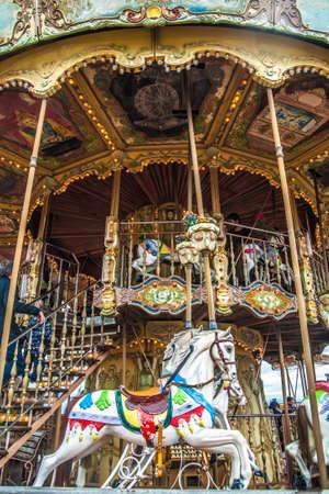 Old vintage carousel in Tibidabo park in Barcelona