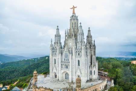 Temple Sacred Heart of Jesus on Tibidabo in Barcelona, Spain.