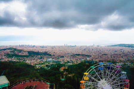 Barcelona panoramic view from Tibidabo mountain, Spain, Europe