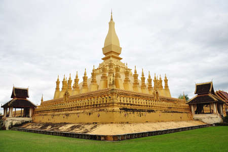 The golden cheddi in Wat Thadlaung at vientien laos photo