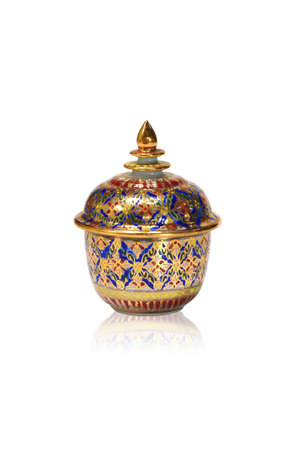 The Benjarong (Bencharong) , Ceramic jars with intricate designed from thailand