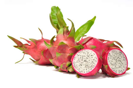 the fresh dragon fruit on the white background