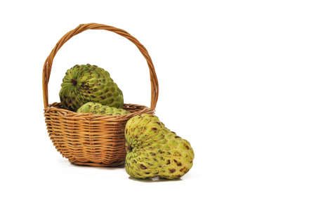 scaly custard apple: custard apples in the basket with with background Stock Photo