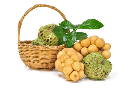 custard apple and Longong in the fruit basket