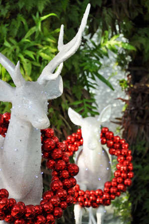 the crystal reindeer wearing christmas balls on the celebration season photo