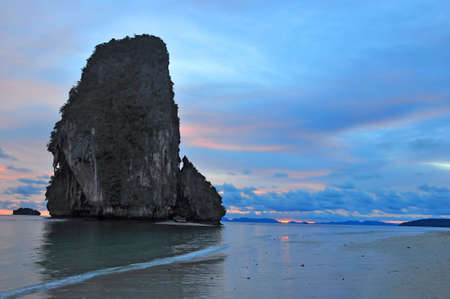 sunset behind the island of krabi beach and the moment of twighlight Stock Photo