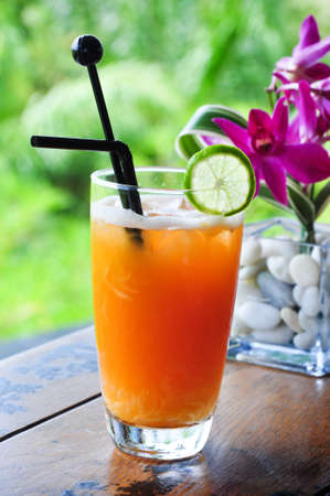 the mixed of orange ,lime, pomelo and fruit punch mocktail