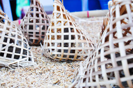 birds in bamboo cage waiting for selling