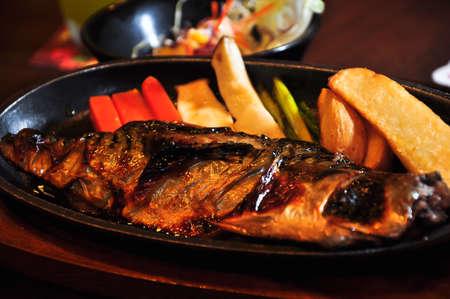 Saba fish steak in japanese style photo