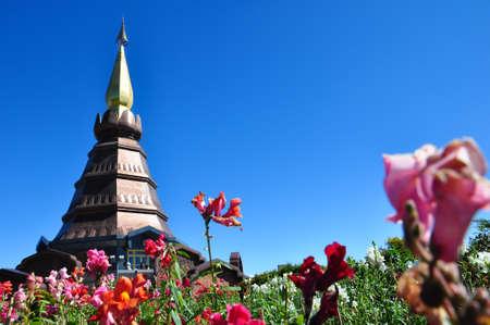 The Stupa Phra Mahathat Naphamethanidon at Doi Inthanon, the highest mountain of Thailand, amidst a beautiful garden.