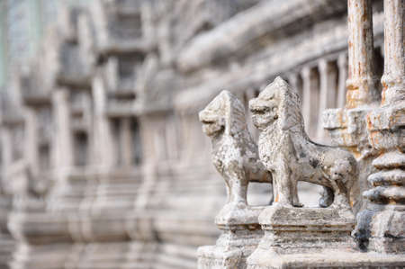 gardian: the couple of stone gardian lion at the Emerald Buddha Templa, Bankok - Thailand Stock Photo