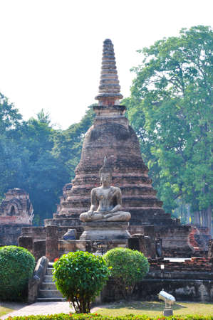 Ancient buddha statue and stupa at Sukhothai, Thailand
