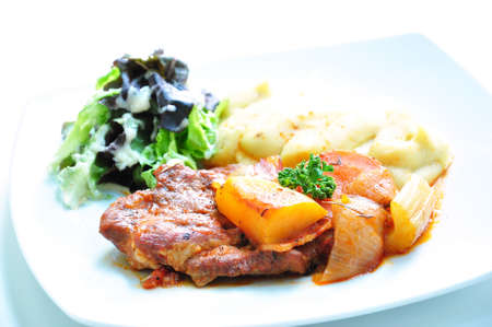 fine cuisine: White wine barbeque beef steak fillet