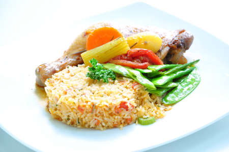 Scrumptious fried rice with drumstick and greenbeans  photo