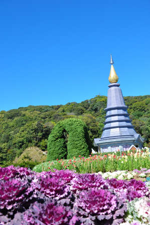 The Stupa Phra Mahathat  Naphamethanidon  Queen  at Doi Inthanon, the highest mountain of Thailand, amidst a beautiful garden