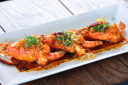 Dried Tom Yum prawn, the hot and spicy thai dish, cooked with prawn and herbs Stock Photo