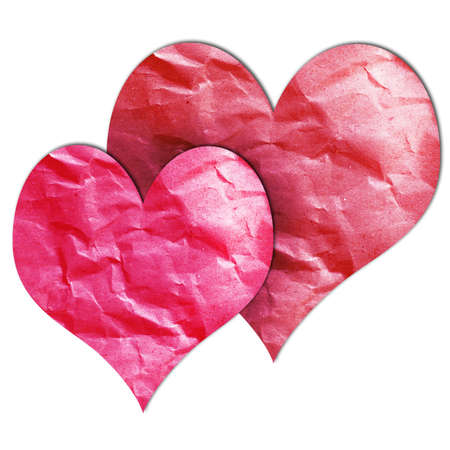 Paper cut in the two hearts shape for designs Stock Photo - 17446005
