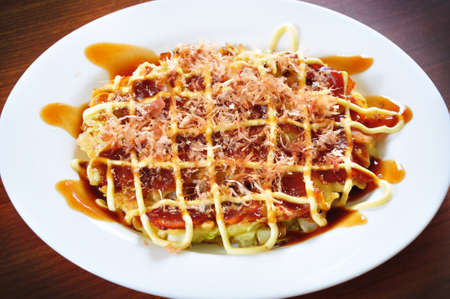 The famous japanese dish called Okonomiyaki