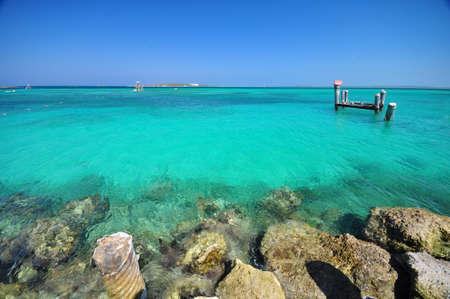 The beautiful beach and rocks at Coco Cay, Bahamas