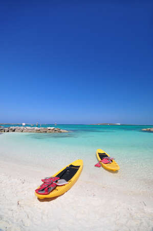 fiji: kayaks and the beautiful beach with blue sky