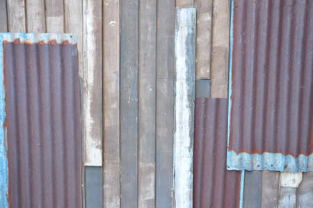 the texture of tin and wood wall