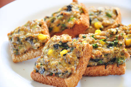 the scrumptious pork bread with corn and seaweed Stock Photo