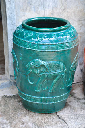 The Thai traditional water container for decoration photo