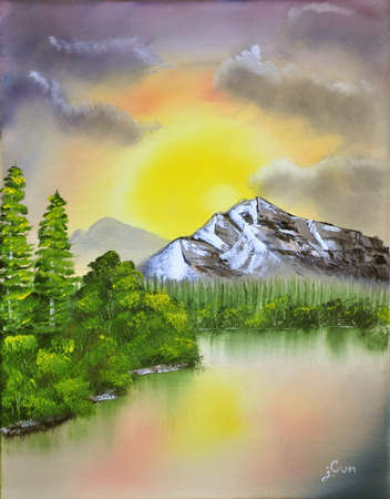 The landscape oil painting of mountain, trees, and lake