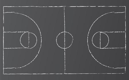 Vector illustratie van basketbal op blacktop met krijt lijnen.