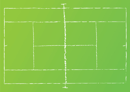 Vector illustration of tennis court with chalk lines.
