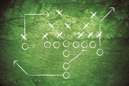 football play: Grunge calcio gioca con gesso linee.