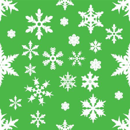 seamless pattern: Seamless random green snowflake pattern.